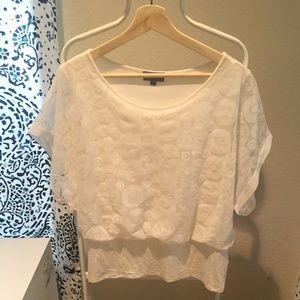White/Cream Overlay Short Sleeve Top
